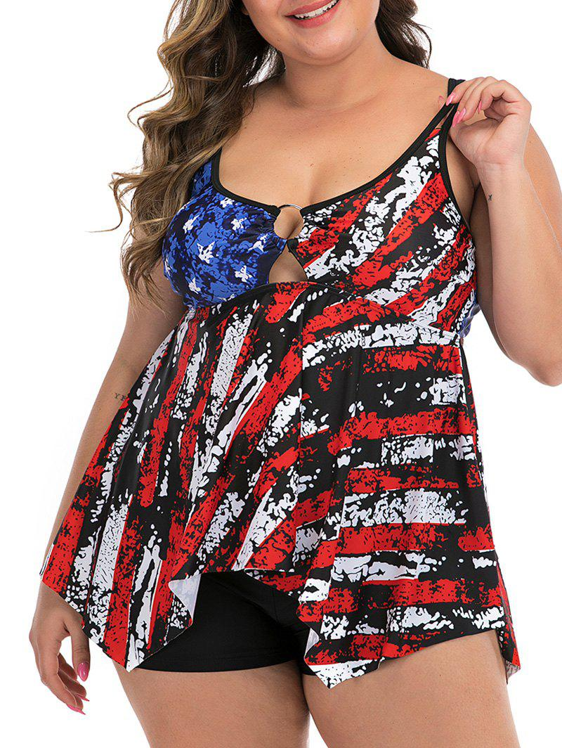 Destroyed American Flag Ring Plus Size Tankini Swimsuit - multicolor 1X