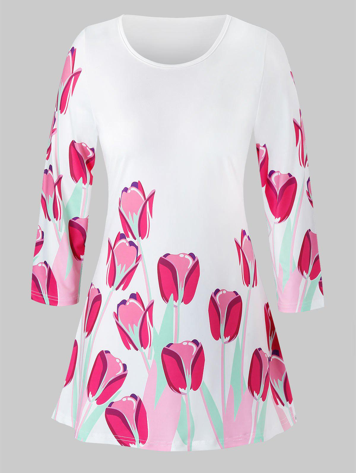 Plus Size Floral Printed T Shirt - WHITE 5X