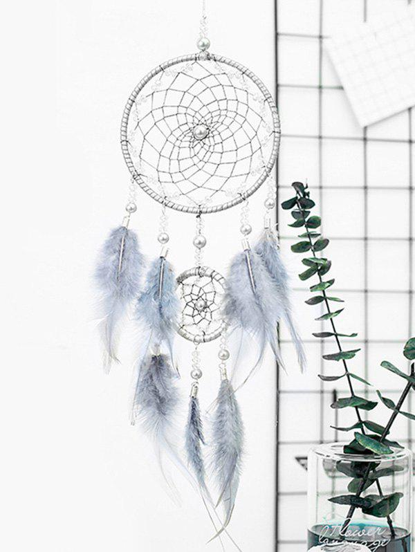 Faux Pearl Beaded Ombre Feather Dream Catcher - GRAY GOOSE