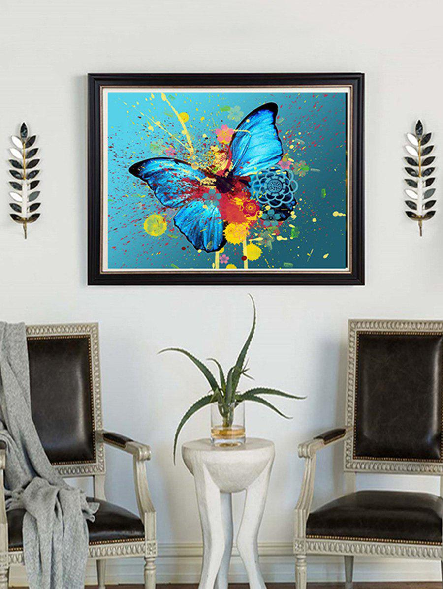Butterfly Paint Splatter Print Unframed DIY Rhinestone Painting - SKY BLUE 1PC X 12 X 16 INCH( NO FRAME )