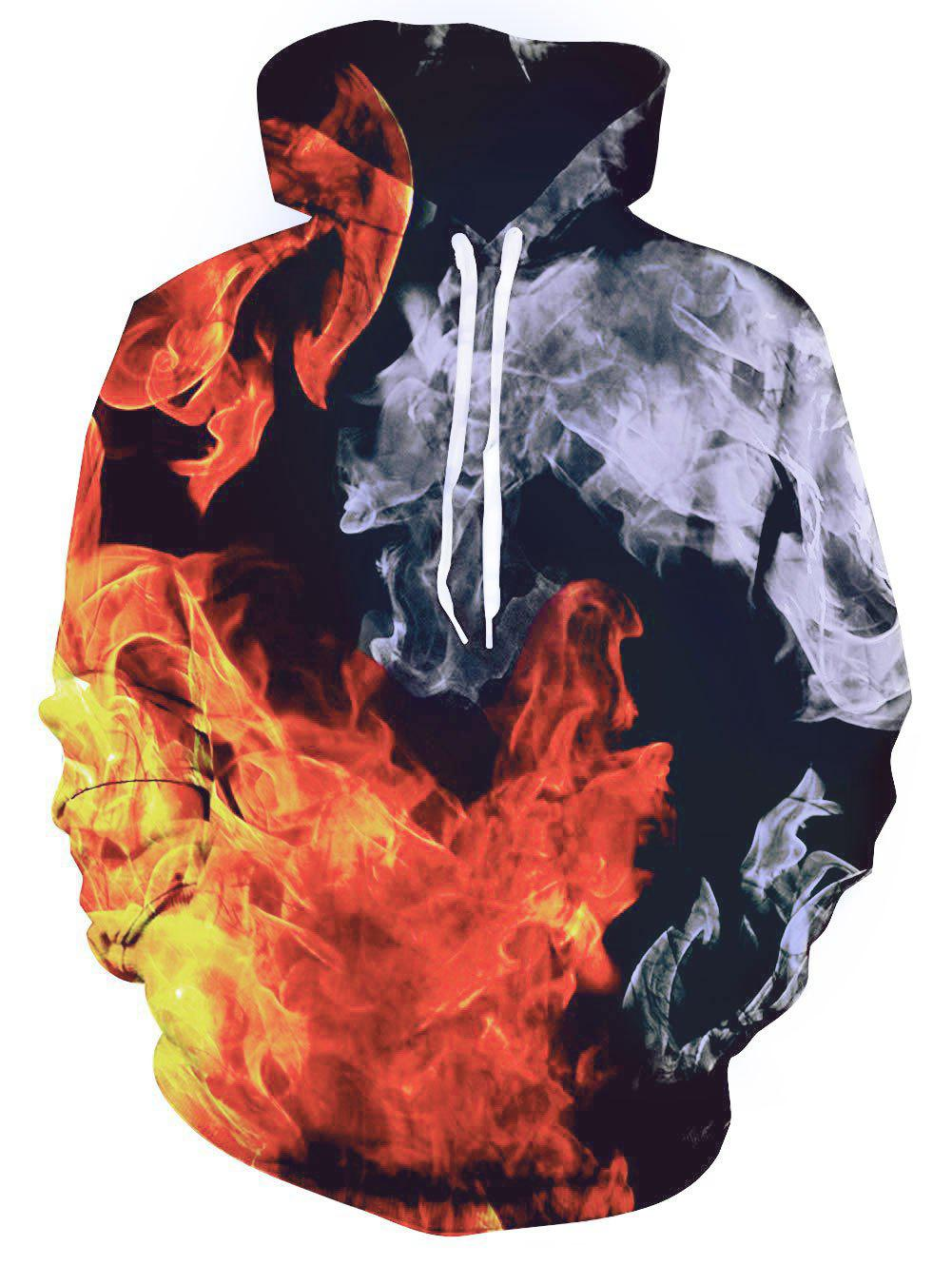 Fire Graphic Front Pocket Casual Hoodie - multicolor 2XL