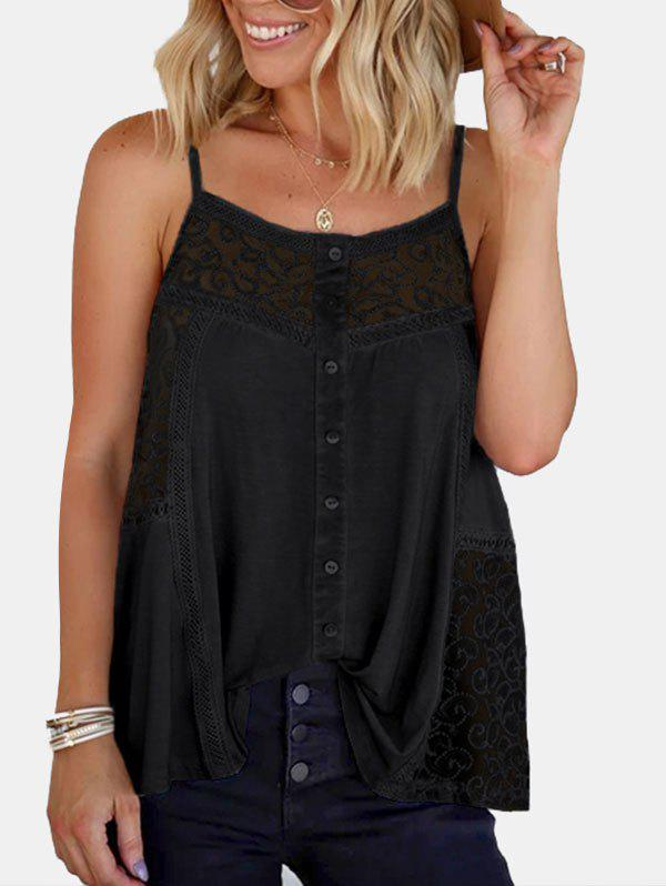 Guipure Insert Button Embellished Camisole - BLACK XL