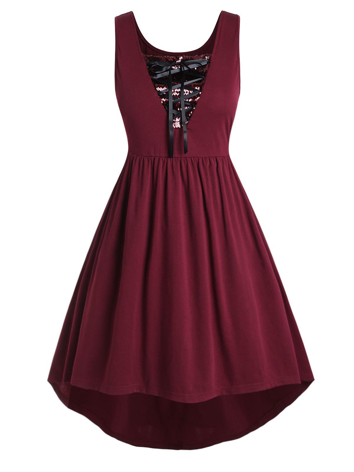 Plus Size Lace Up Sequin Dress - RED WINE 5X