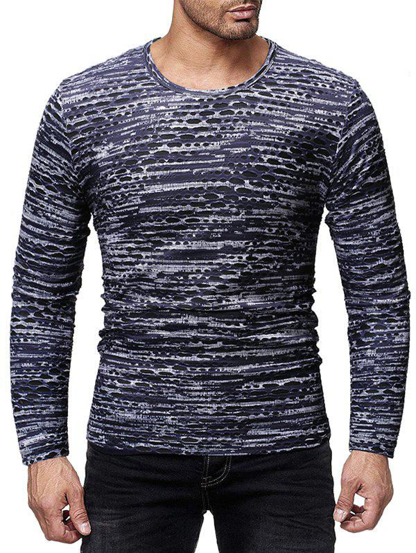 Casual Printed Long Sleeves T-shirt - SLATE BLUE 2XL