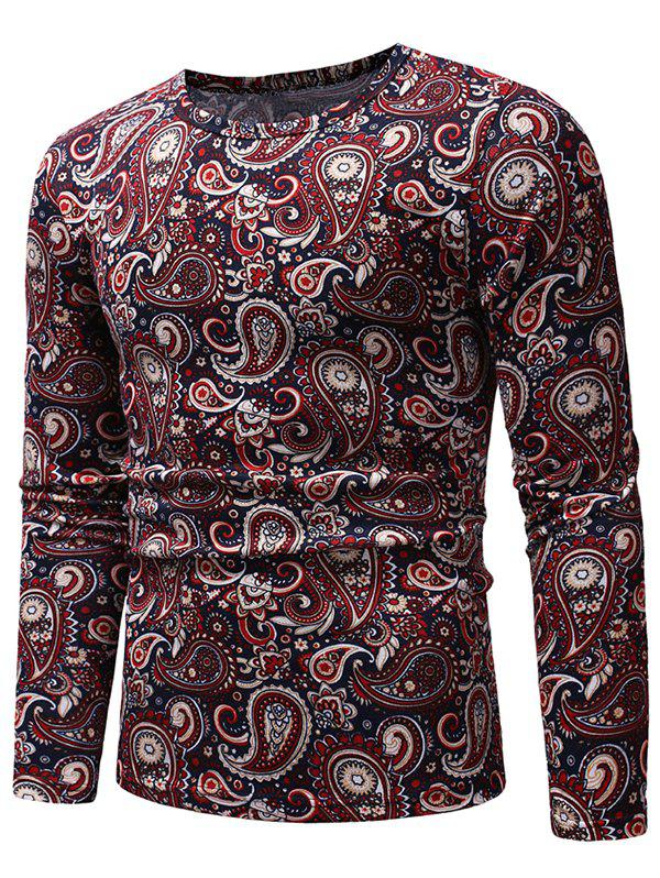 Ethnic Paisley Pattern Long-sleeved T-shirt - FIREBRICK XL