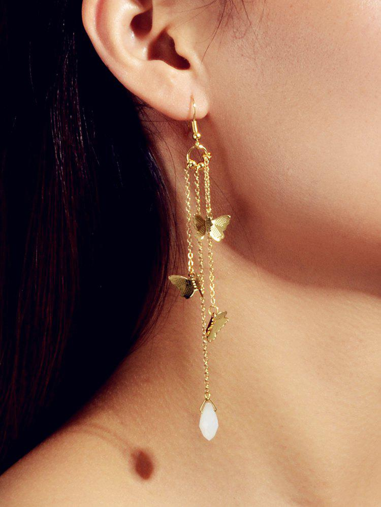 Butterfly Fringe Long Dangle Earrings - GOLD