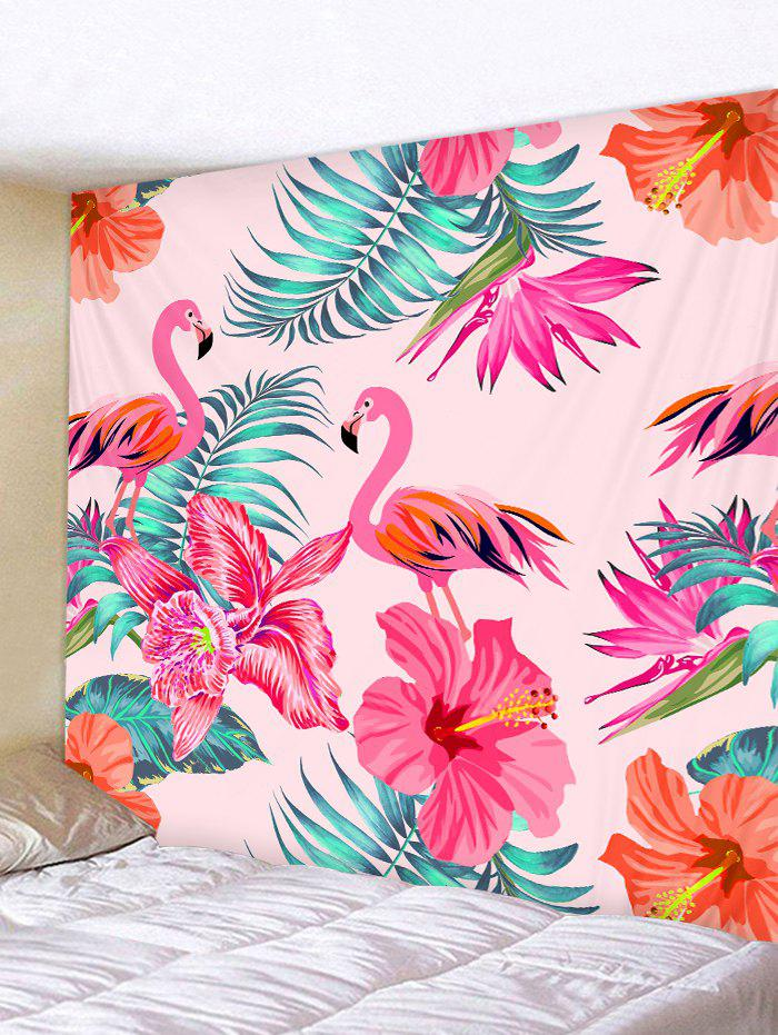 Flamingo and Tropical Flowers Print Tapestry Wall Hanging Art Decoration - multicolor W91 X L71 INCH