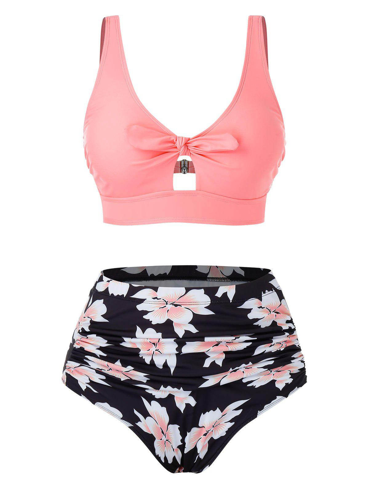 Plus Size Bowknot Floral Printed Tankini Swimsuit - PINK 3X