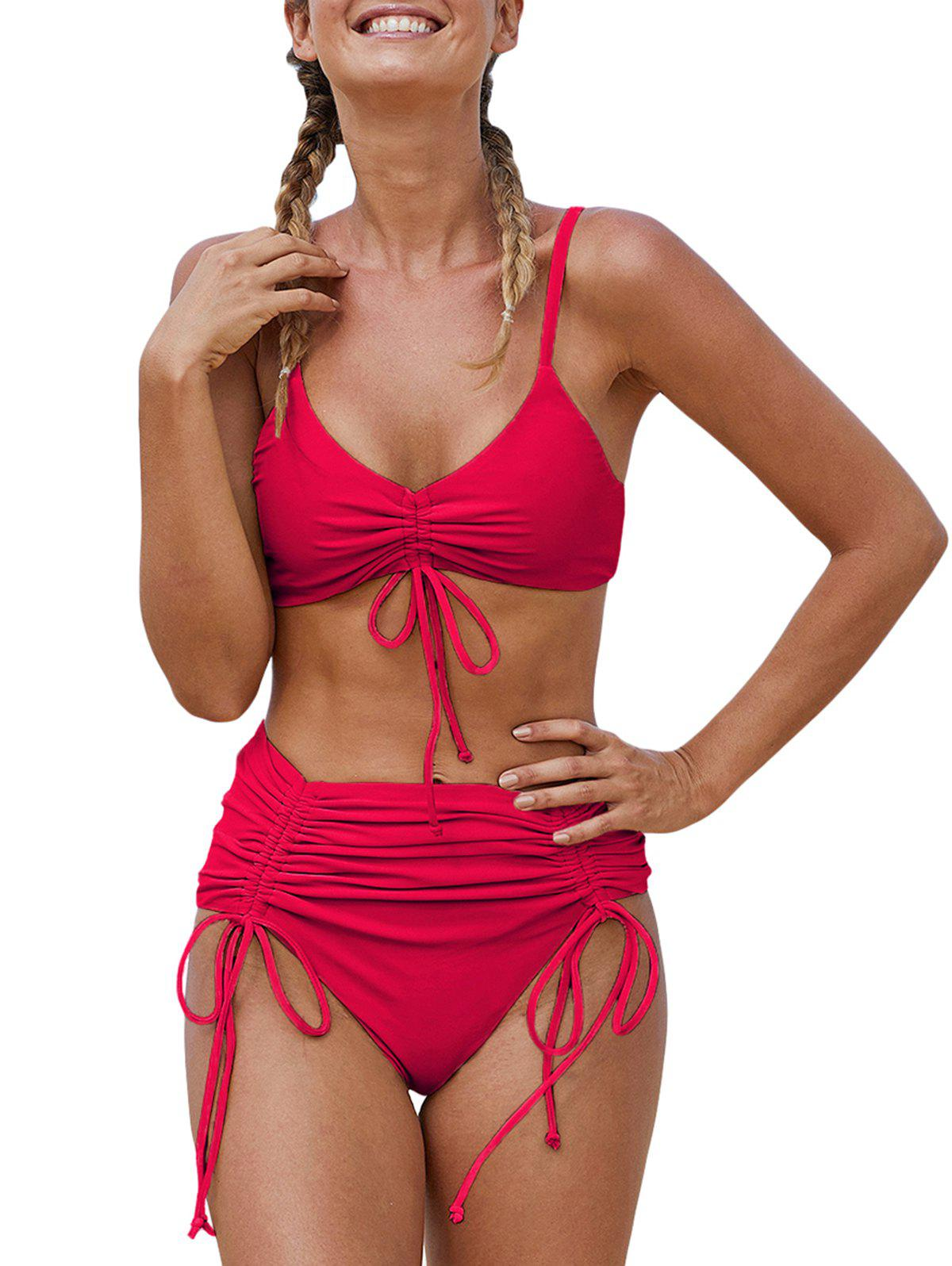 Cinched High Waisted Cami Bikini Swimwear - LAVA RED M