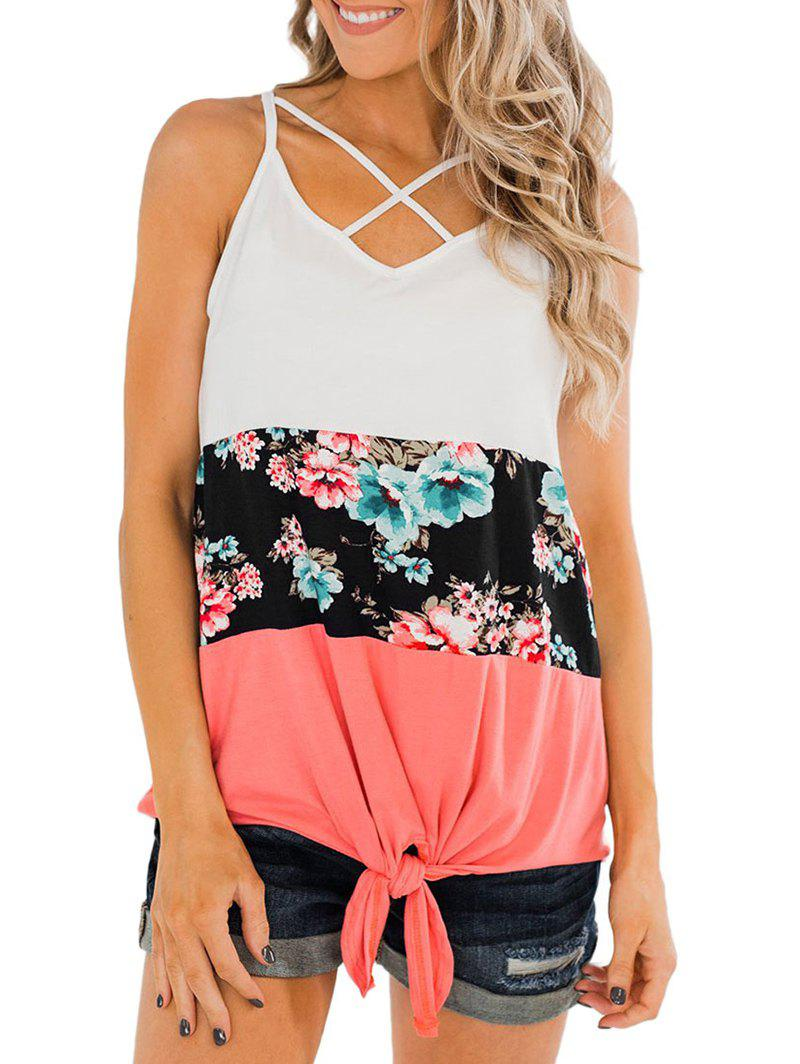 Flower Criss Cross Tie Hem Tank Top - LIVING CORAL S