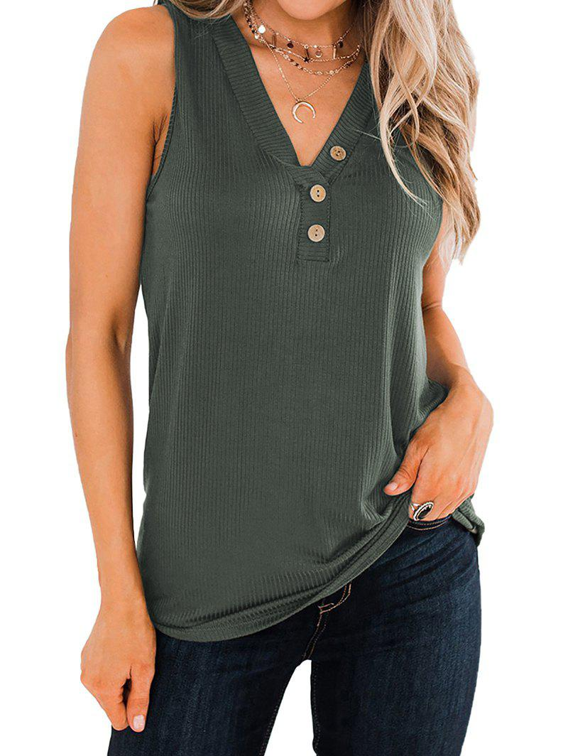Ribbed Button Embellished V Neck Tank Top - ARMY GREEN M
