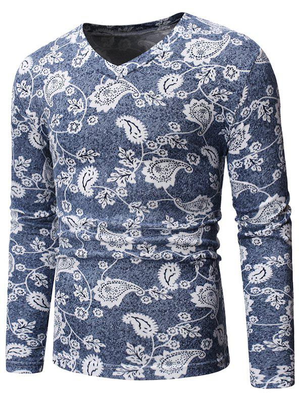 Paisley Leaf Pattern V-Neck T-shirt - BLUE GRAY 2XL