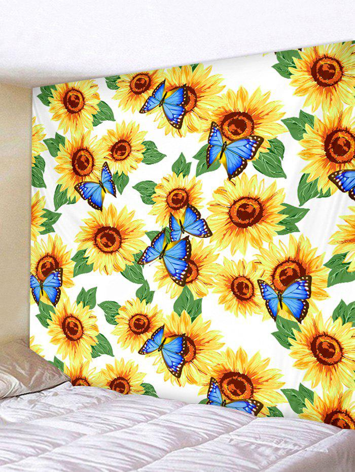 Butterfly and Sunflowers Print Tapestry Wall Hanging Art Decoration - multicolor W91 X L71 INCH