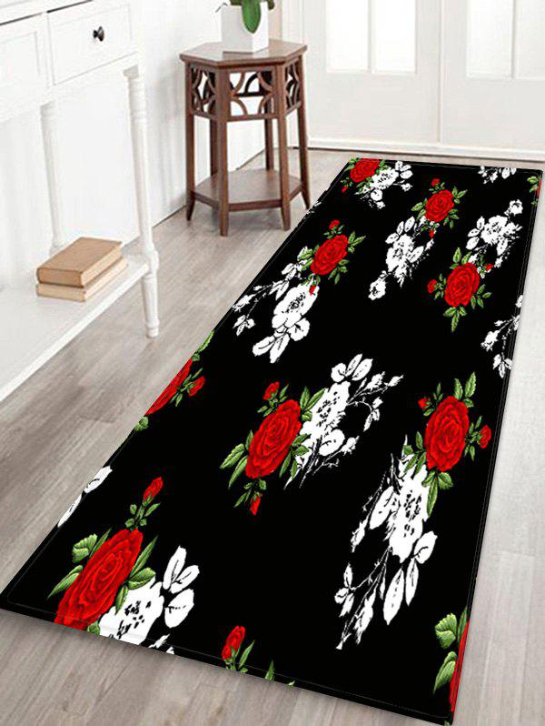 Valentine Flower Pattern Water Absorption Area Rug - multicolor W24 X L71 INCH