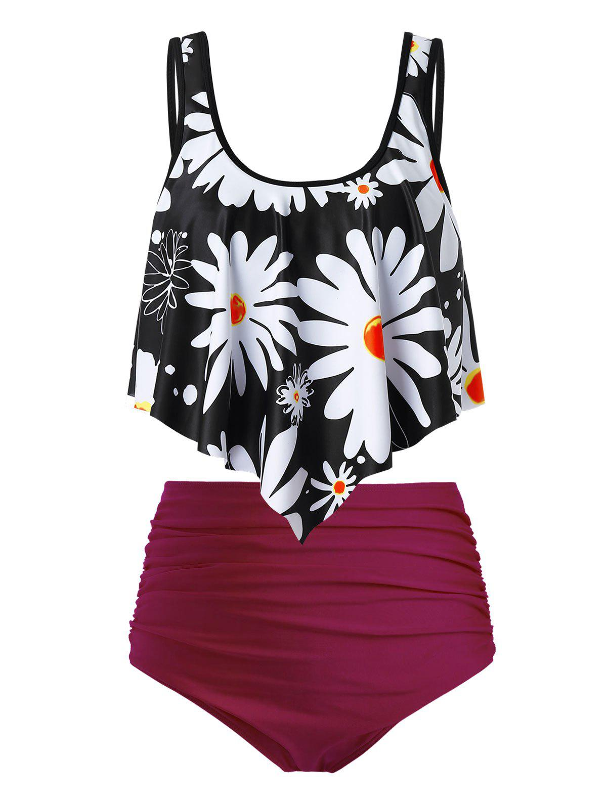 Plus Size Flower Print Flounce Dual Strap Ruched Tankini Swimsuit - multicolor 1X