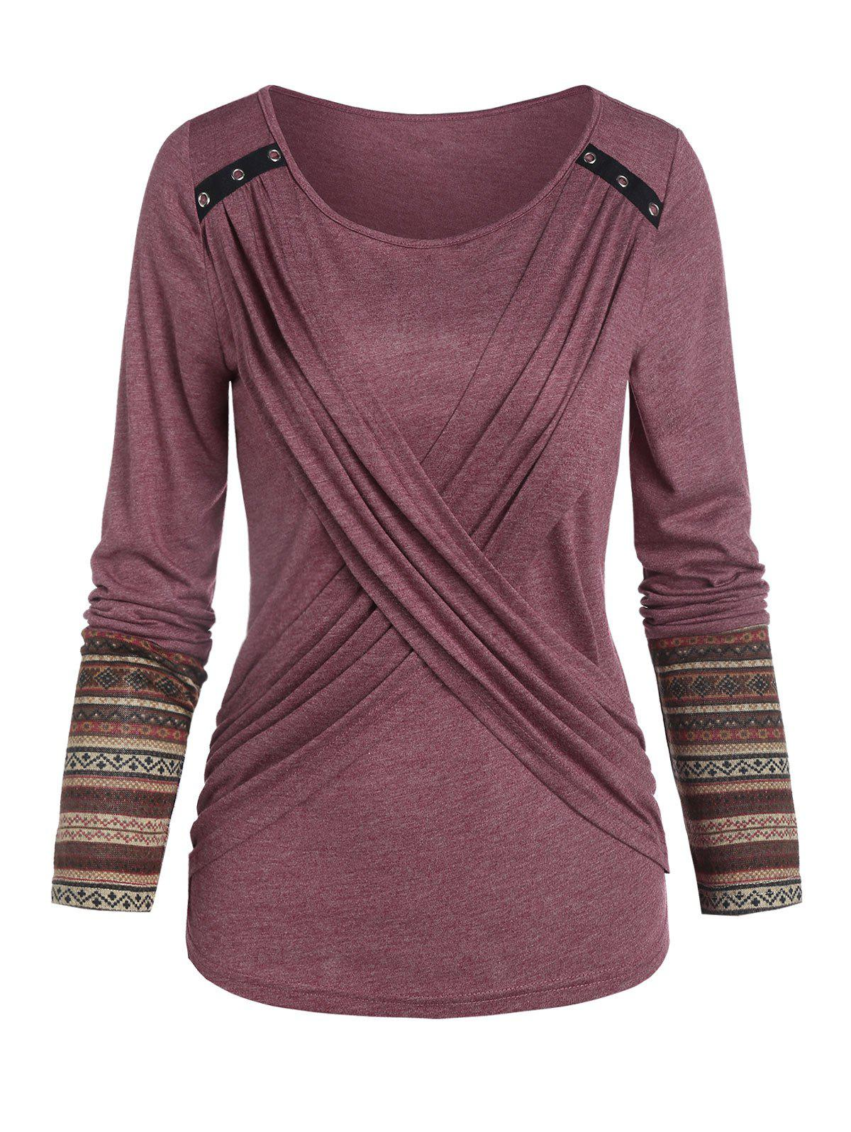 Ethnic Striped Front Crisscross Casual T Shirt - RED WINE 3XL