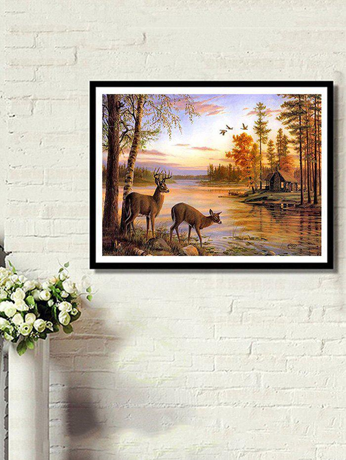 Waterside Elks Print Unframed DIY Rhinestone Painting - multicolor A 1PC X 12 X 16 INCH( NO FRAME )