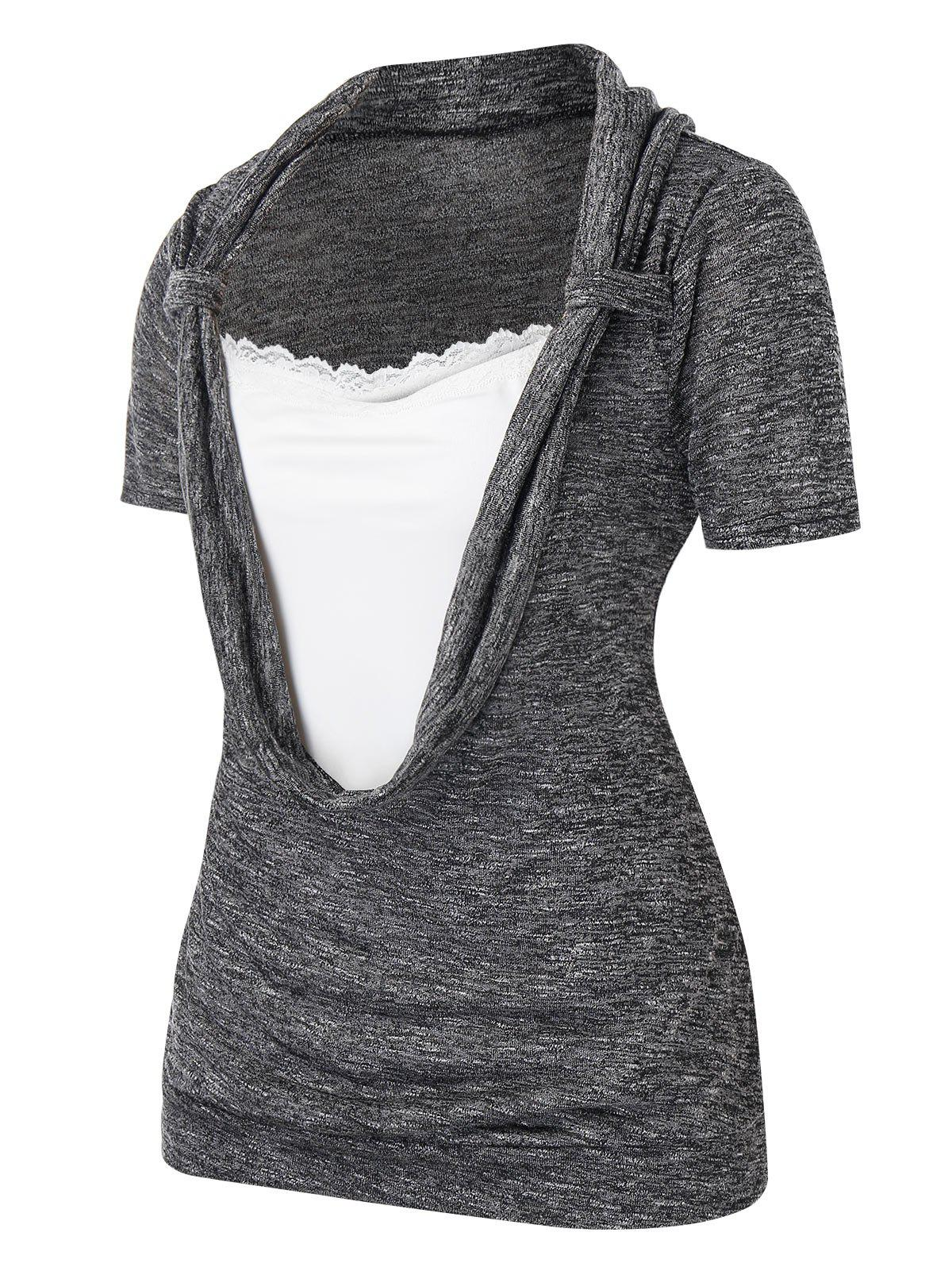 Plus Size Lace Splicing T-shirt - Cendre gris L