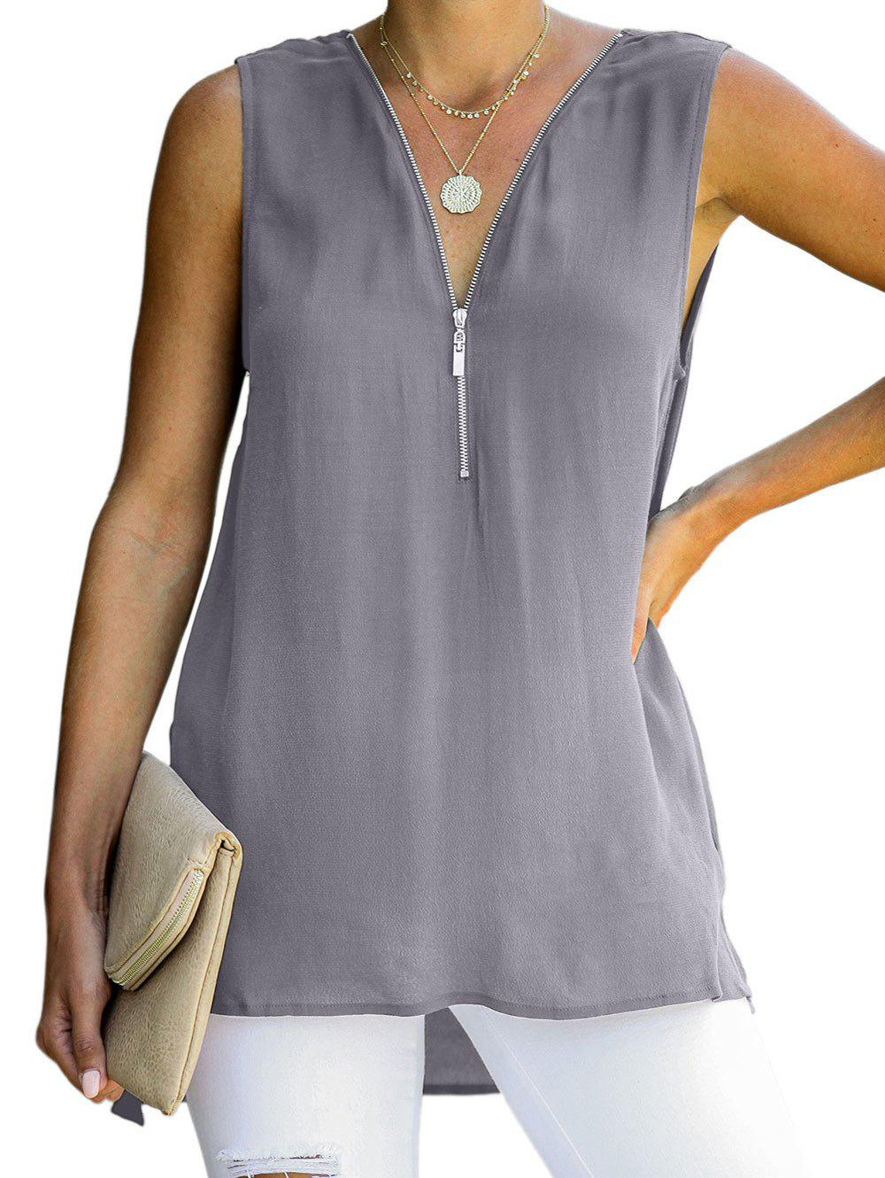 Zip avant Plongeant Criss Cross High Low Slit Tank Top - Gris L