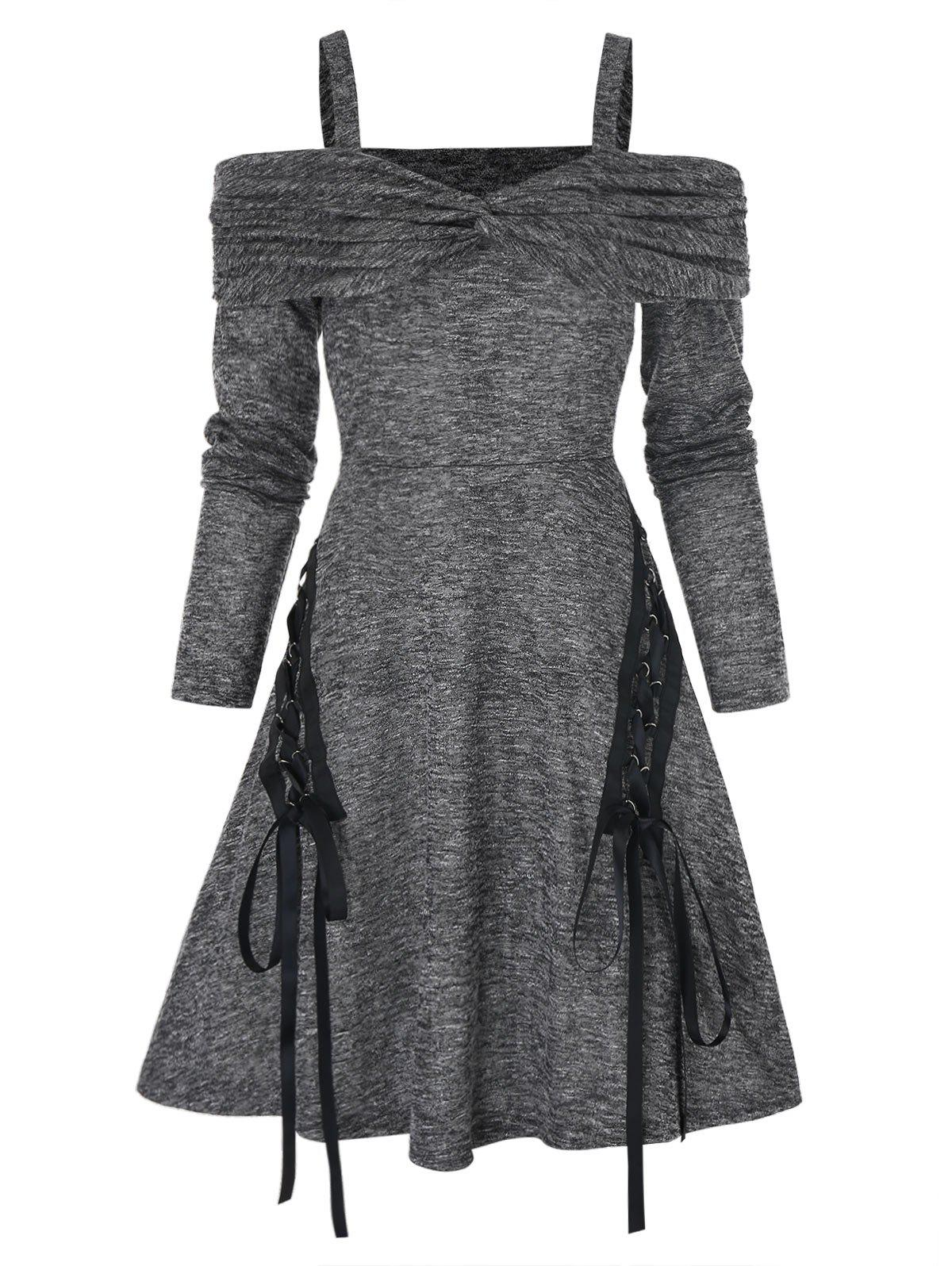 Twist Front Cold Shoulder Heathered Lace-up Dress - multicolor A 2XL