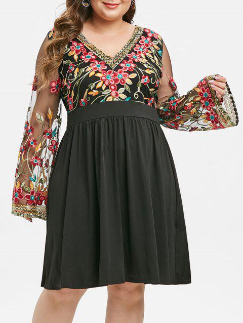 Plus Size A Line Embroidery Long Sleeve Dress