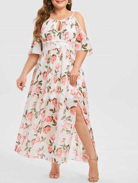 Plus Size Keyhole Cold Shoulder Floral Print Dress