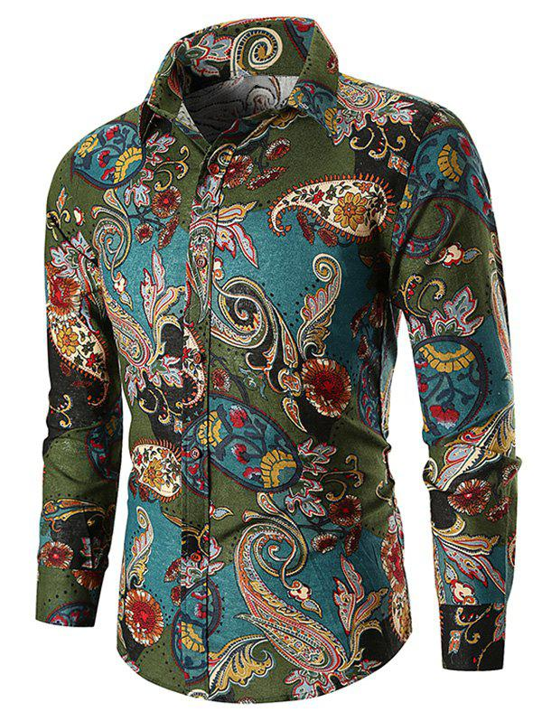 Ethnic Paisley Print Button Up Shirt - GREEN L