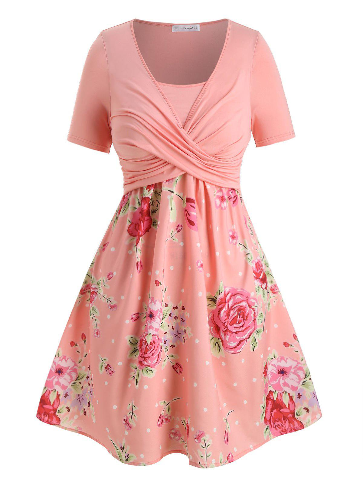 Plus Size Crossover Floral Print Dress - PINK 5X