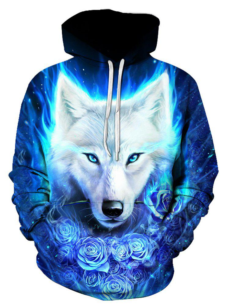 Wolf Rose Print Pocket Hoodie - BLUE S