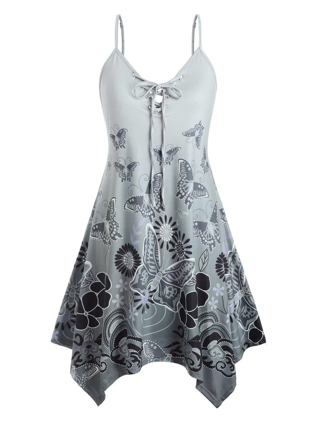 Plus Size Lace Up Butterfly Print Cami Dress - multicolor 1X