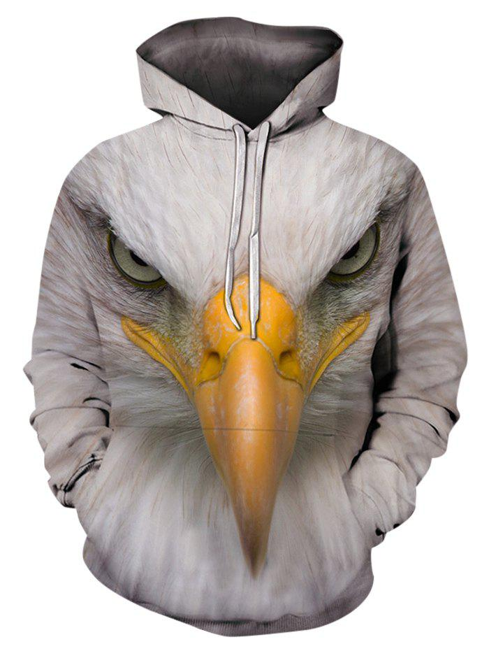 Eagle Pattern Casual Pouch Pocket Hoodie - WARM WHITE L