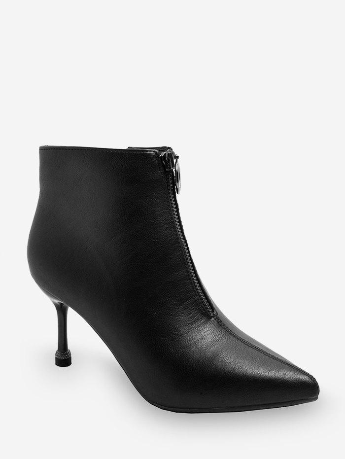 Front Zip Pointed Toe Leather Fleece Ankle Boots - BLACK EU 38