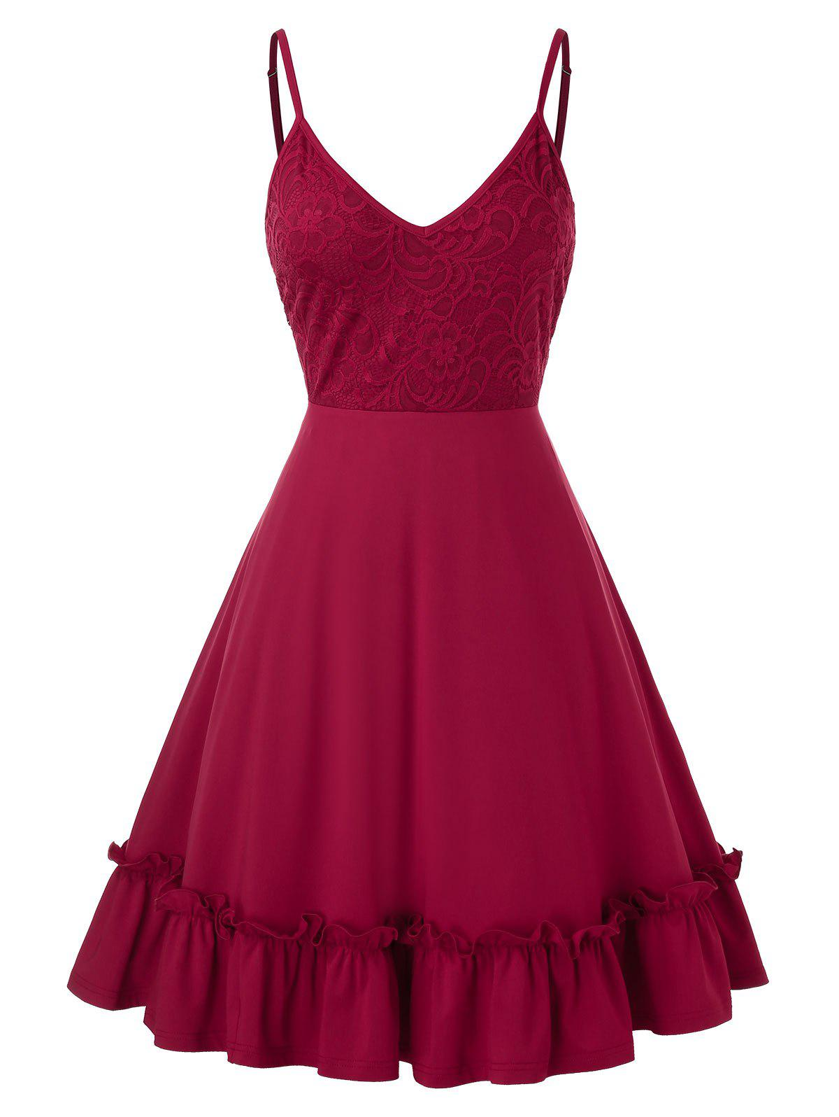 Plus Size Lace Panel Flounce Hem Cami Dress - RED WINE 3X