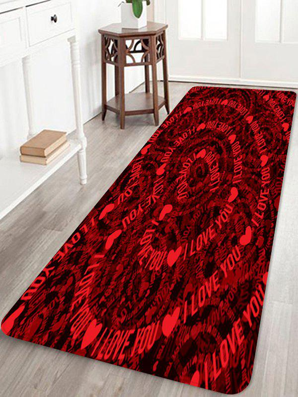Valentine Love Heart Motif Absorption d'eau Tapis - Rouge Vineux W24 X L71 INCH