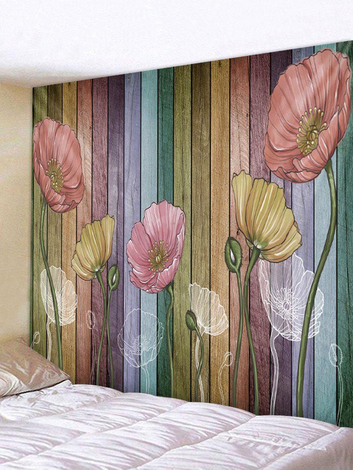 Wooden Board Flowers Printed Tapestry Wall Hanging Art Decor - multicolor A W91 X L71 INCH