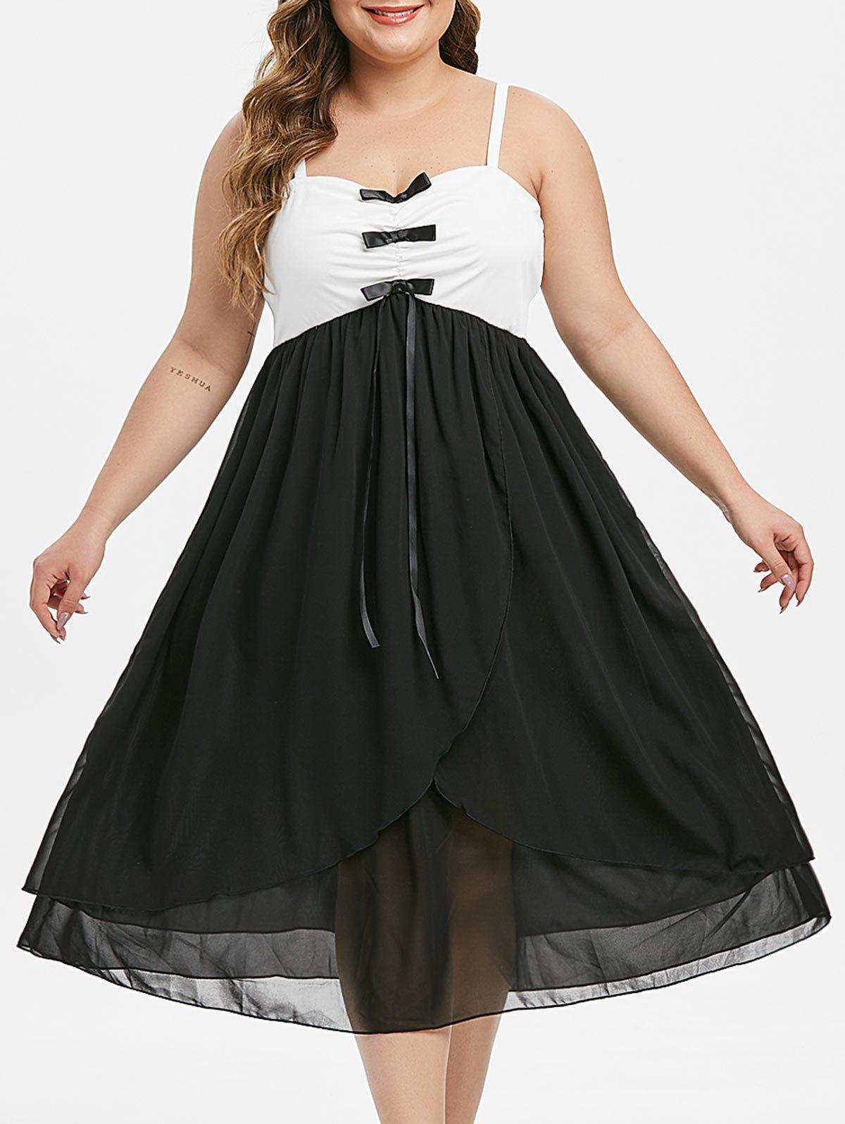 Plus Size Colorblock Bowknot Midi Dress - BLACK 3X