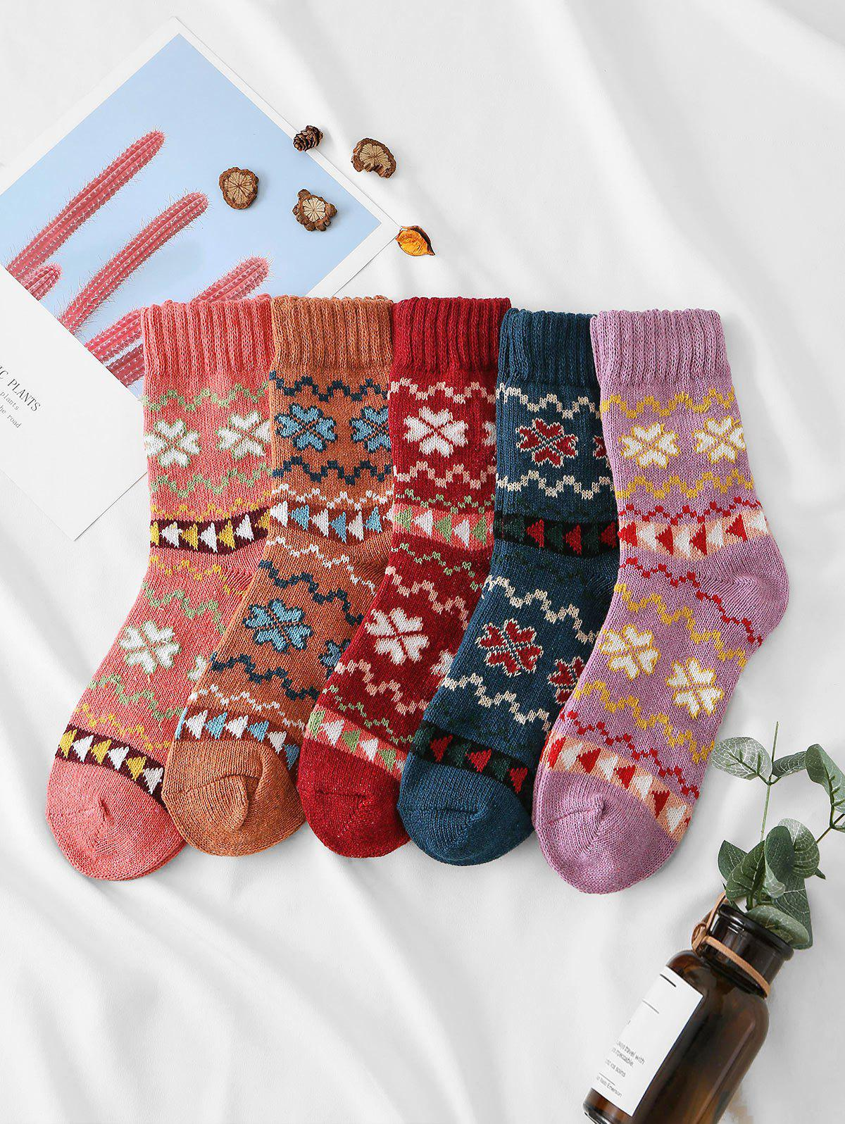 5 Pairs Clover Pattern Crew Length Socks Set - multicolor A