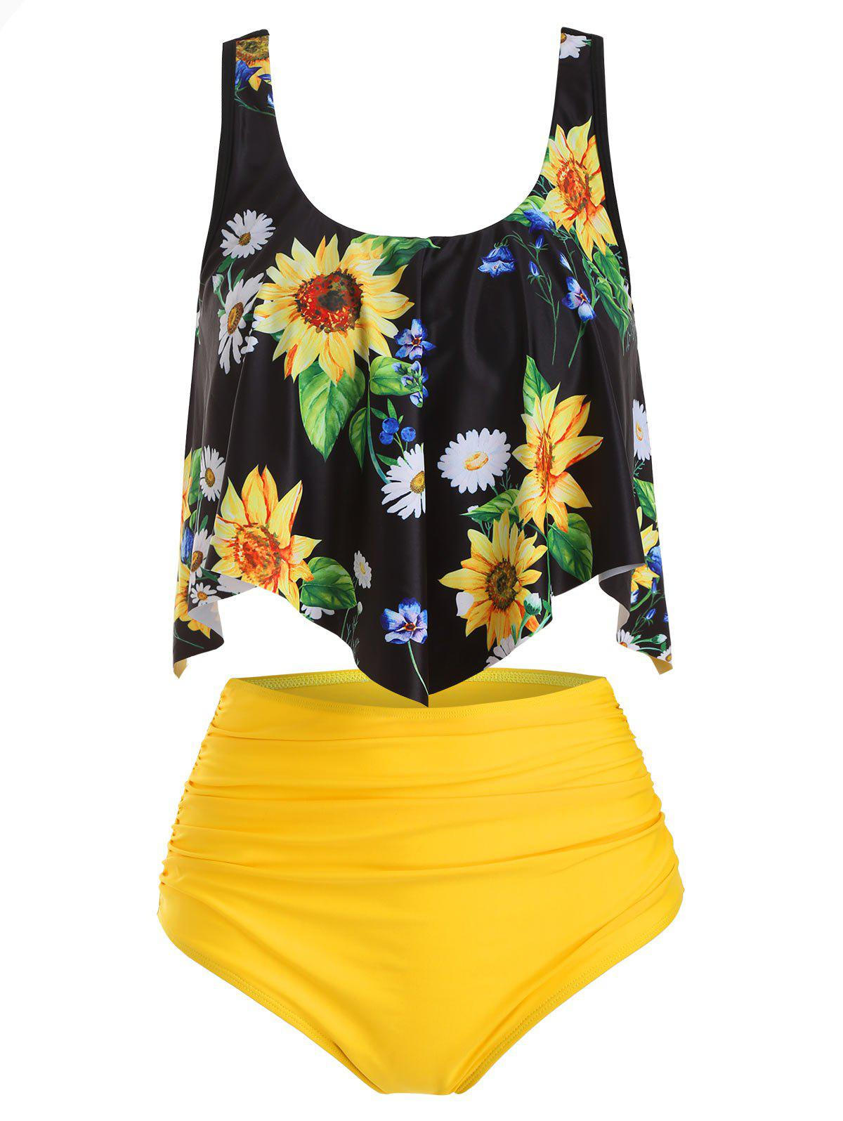 Maillot de Bain Tankini Tournesol Superposé à Volants - multicolor 2XL