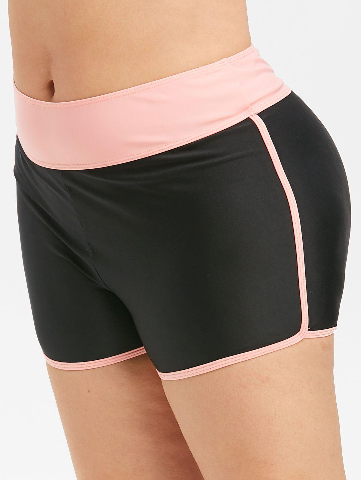 Colorblock Contrast Binding Swim Plus Size Boyshorts - BLACK 2X