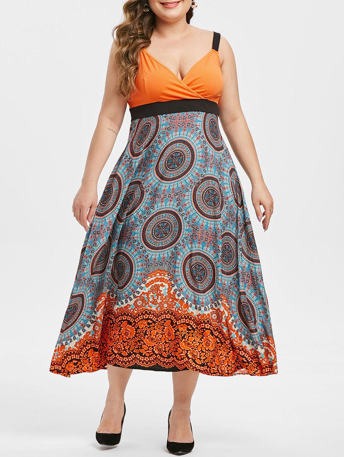 Printed Side Zipper Surplice Plus Size Midi Dress - ORANGE 3X