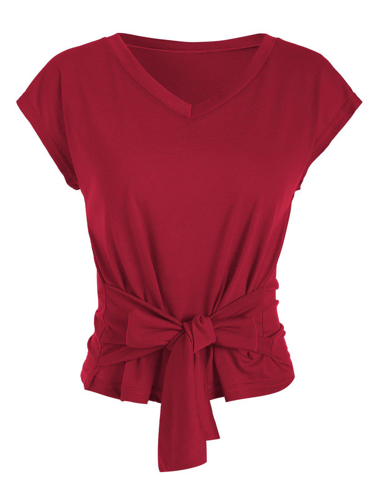 V Neck Solid Knotted Tee - RED WINE 2XL