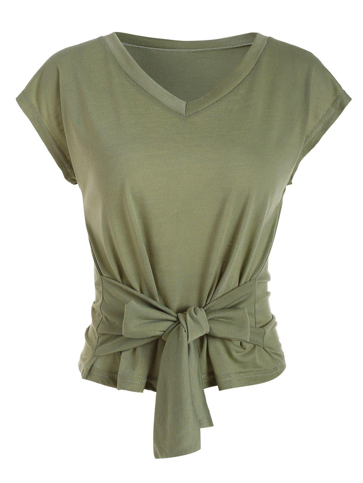 V Neck Tee solide noueuse - Vert Clair M
