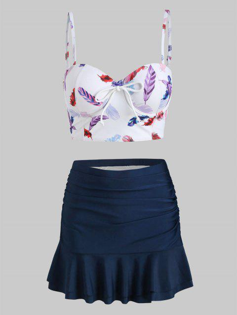 Feather Print Push Up Skirted Two Piece Swimsuit