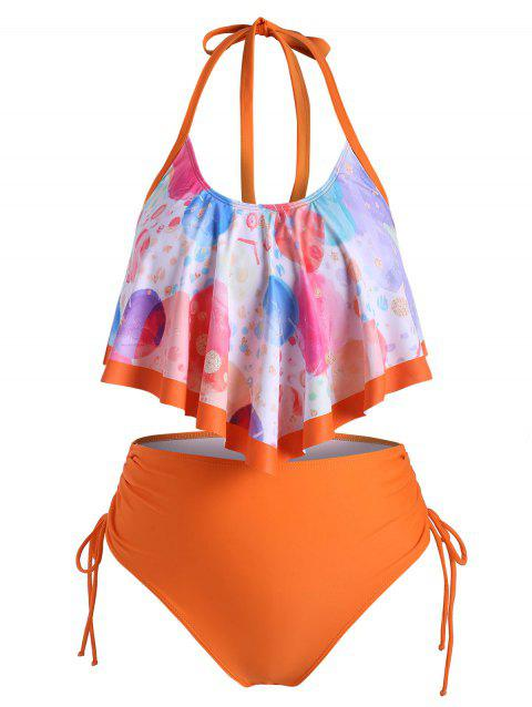 Funny Planet Cinched Side Overlay Flounces Plus Size Tankini Swimsuit