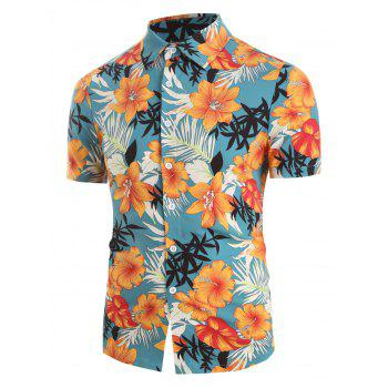 Tropical Flowers and Leaf Print Button Up Shirt