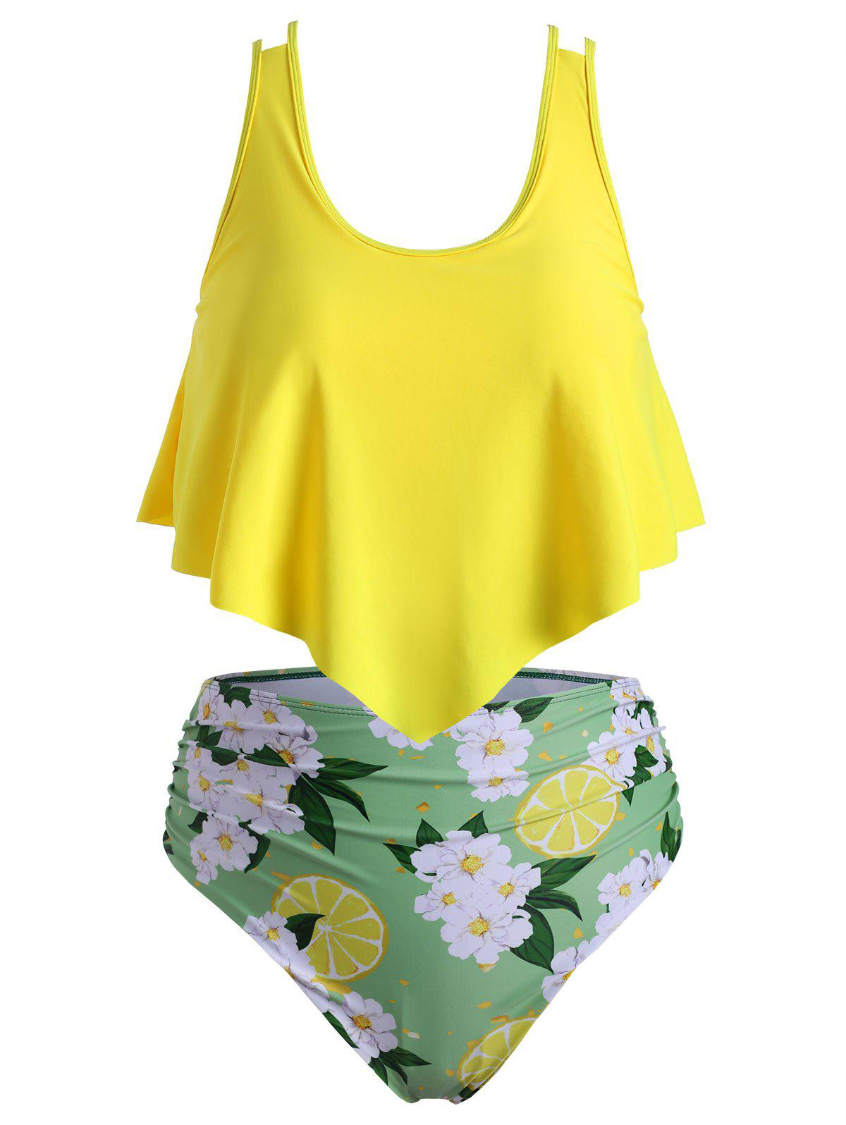 Floral Lemon Print Flounce Ruched Plus Size Tankini Swimsuit - YELLOW 5X