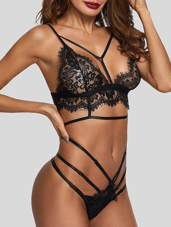 Eyelash Lace Bralette Harness Lingerie Set - BLACK L