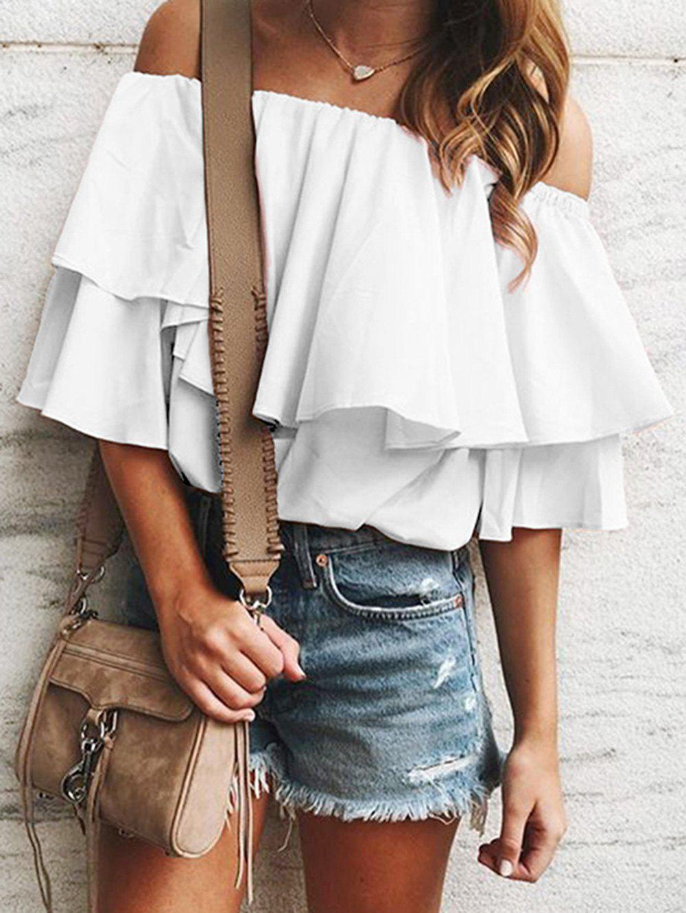 Off Shoulder Flounce Tunic Blouse - WHITE XL