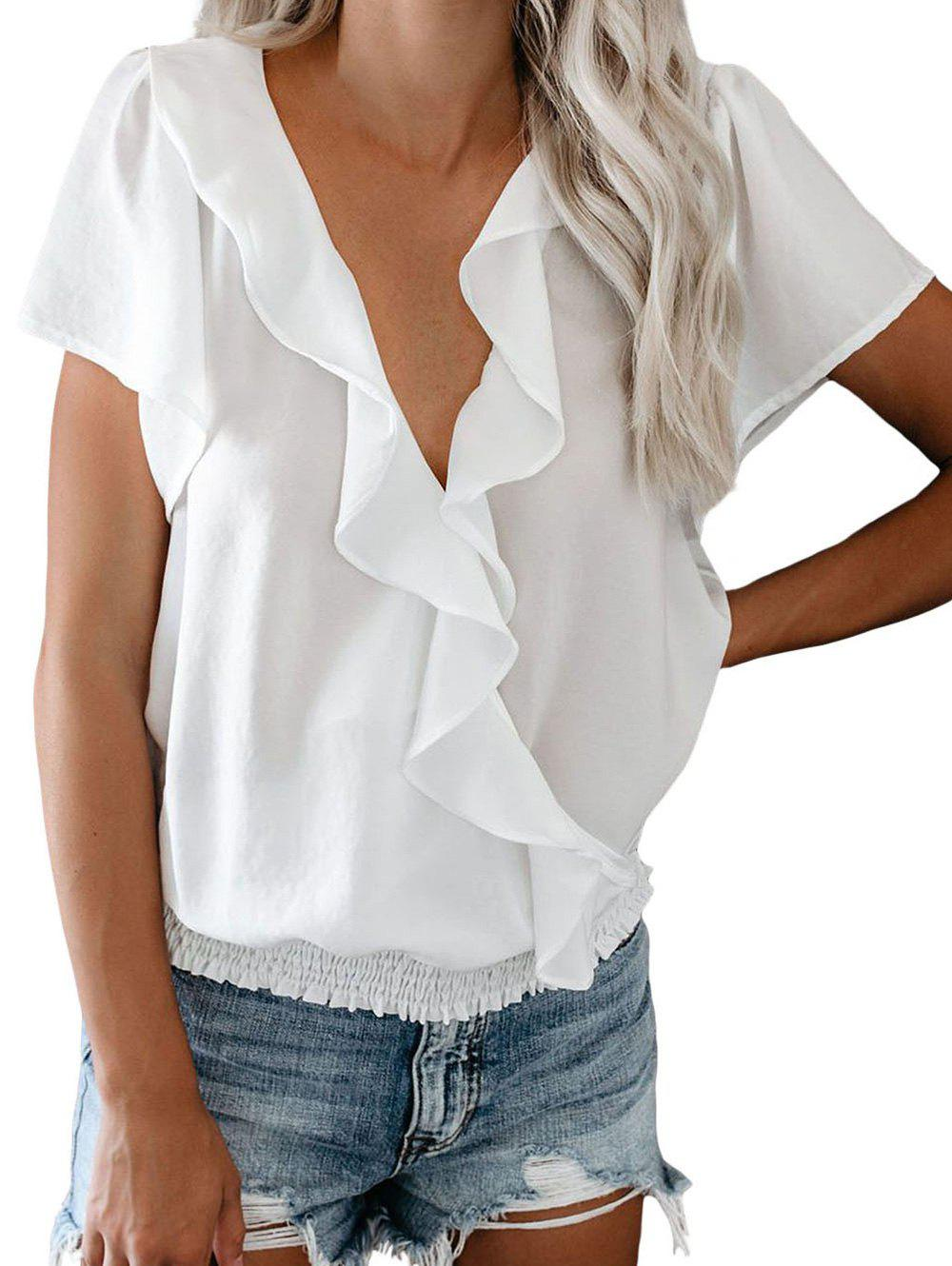 Ruffle Plunging Smocked Hem Blouse - WHITE M