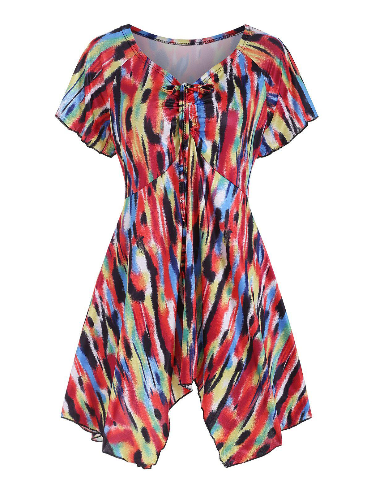 Cinched Printed Asymmetric Tee - multicolor A 2XL
